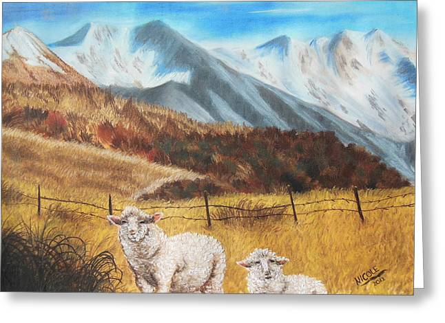 Thin Pastels Greeting Cards - Curious Sheep of New Zealand Greeting Card by Nicole Poston