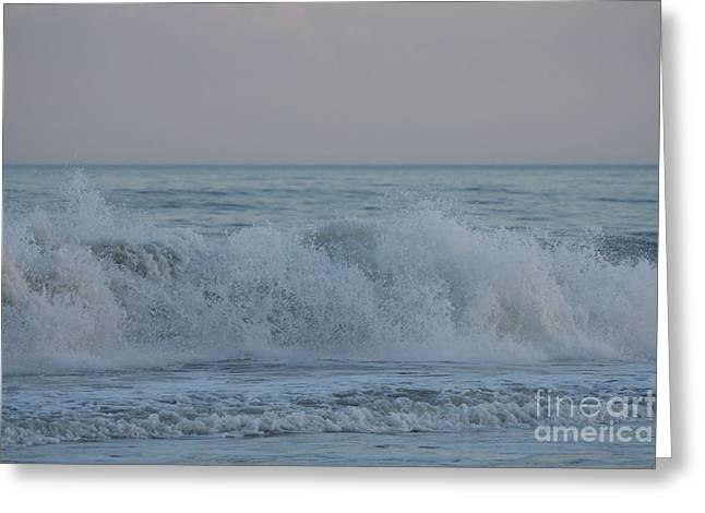 On The Beach Greeting Cards - Curl Crashing Down At Jones Beach Greeting Card by John Telfer
