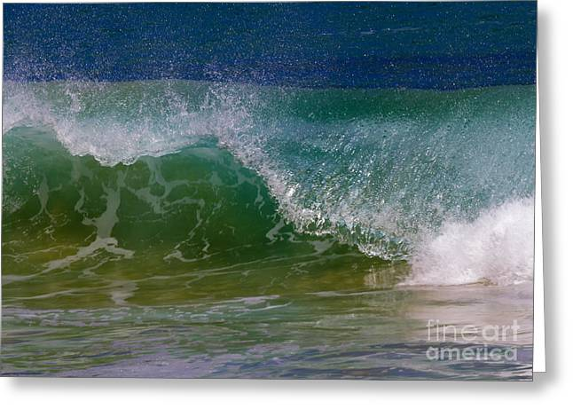 Ocean Spray Greeting Cards - Curling Over Greeting Card by Mike Dawson