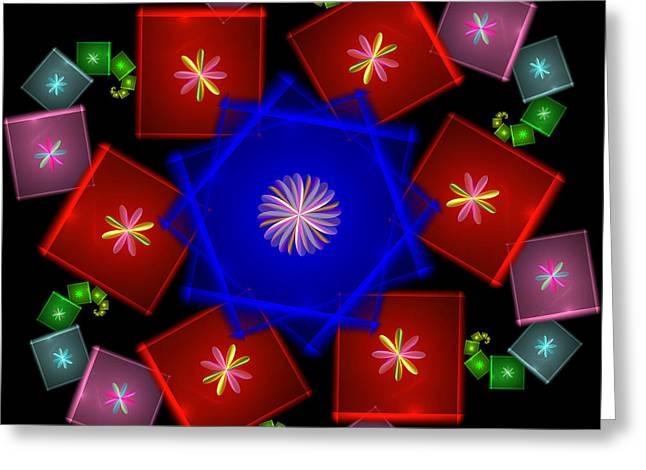 Geometric Digital Art Greeting Cards - Curling Greeting Card by Sandy Keeton
