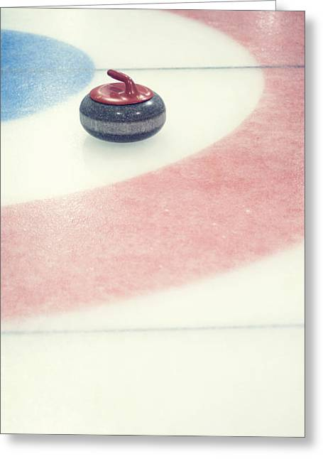 Curl Greeting Cards - Curling stone in a distance Greeting Card by Priska Wettstein
