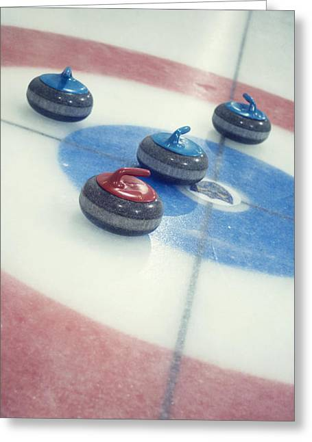 Team Sport Greeting Cards - Curling Stones Greeting Card by Priska Wettstein