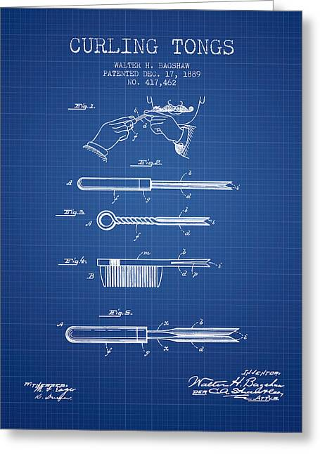 Bedroom Greeting Cards - Curling Tongs patent from 1889 - Blueprint Greeting Card by Aged Pixel