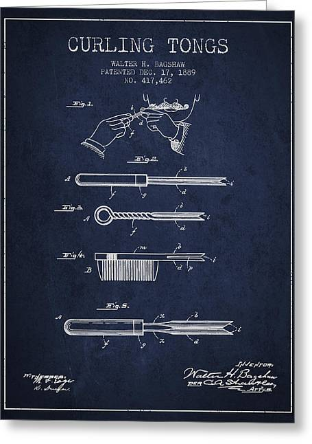 Decor Wall Art Greeting Cards - Curling Tongs patent from 1889 - Navy Blue Greeting Card by Aged Pixel