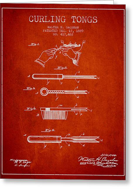 Curling Greeting Cards - Curling Tongs patent from 1889 - Red Greeting Card by Aged Pixel