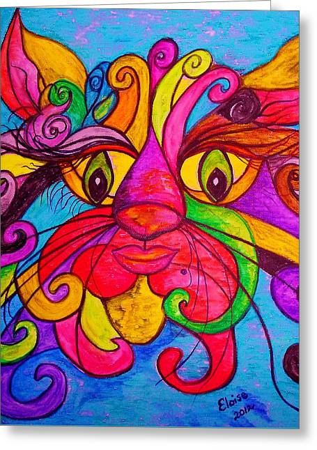 Curly Cat Love Greeting Card by Eloise Schneider