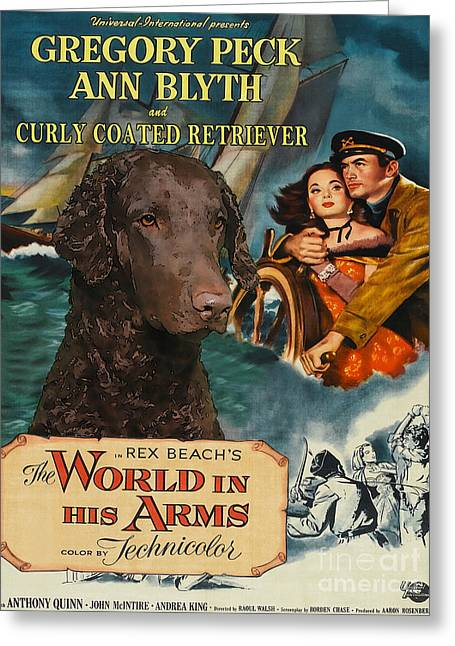 Dog Prints Greeting Cards - Curly Coated Retriever Art - The World in his Arms Movie Poster Greeting Card by Sandra Sij