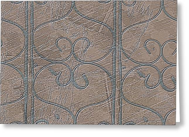 Beige Abstract Greeting Cards - Curly Railing Shapes on Plaster Wall Texture Neutral Colors Greeting Card by Jocelyn Ball