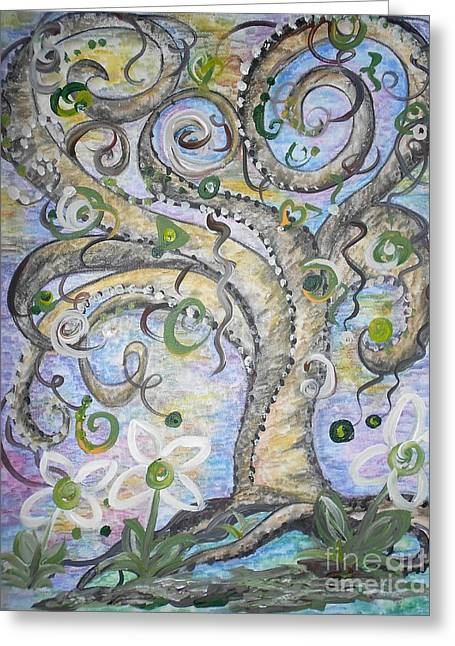 Whimsical Greeting Cards - Curly Tree in Fantasy Land Greeting Card by Eloise Schneider