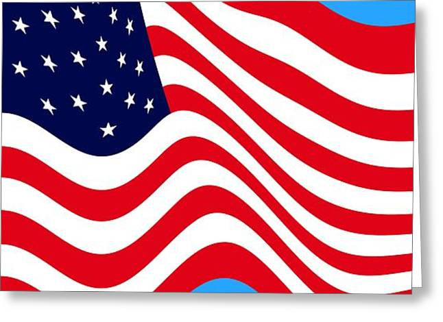 4th July Digital Greeting Cards - Current American Flag Cropped x 2 wide Greeting Card by L Brown