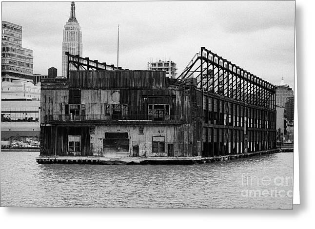 Currently Condemned Pier 64 On The Hudson River New York City Usa Greeting Card by Joe Fox