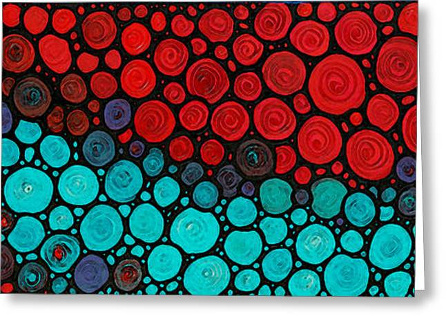 Mosaic Mixed Media Greeting Cards - Currents - Red Aqua Art by Sharon Cummings Greeting Card by Sharon Cummings