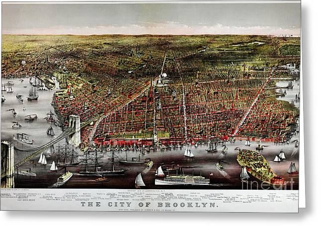 Currier Paintings Greeting Cards - Currier and Ives print of Brooklyn 1879 Greeting Card by Celestial Images