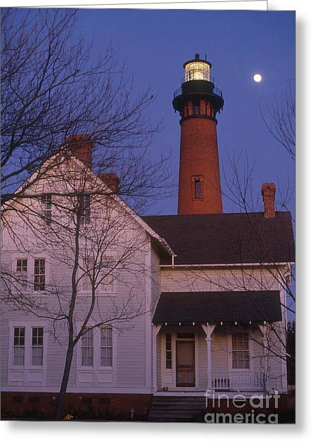 Moon Beach Greeting Cards - Currituck Beach Light Greeting Card by Bruce Roberts