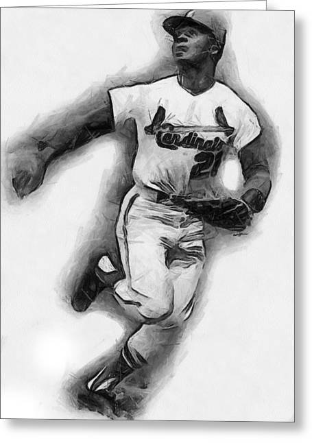Anthony J. Caruso Greeting Cards - Curt Flood Greeting Card by Anthony Caruso
