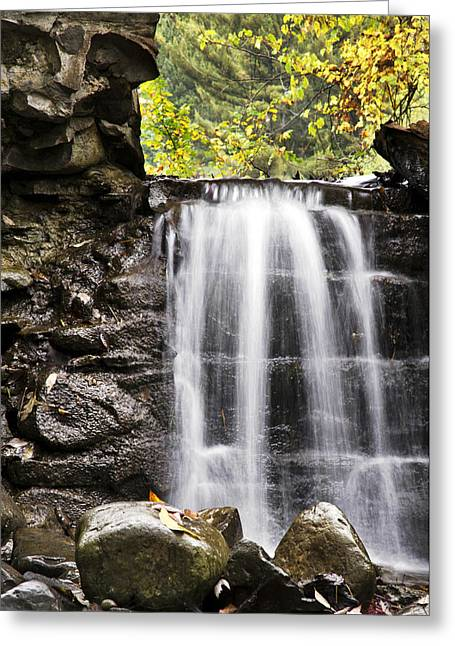 Nature Scene Greeting Cards - Curtain Mist Waterfall Greeting Card by Christina Rollo