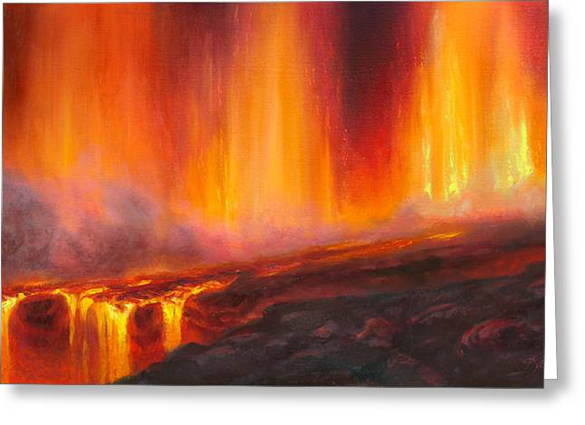 Erupting Kilauea Volcano On The Big Island Of Hawaii - Lava Curtain Greeting Card by Karen Whitworth