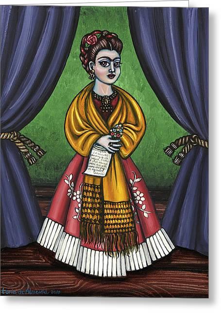 Curtains For Frida Greeting Card by Victoria De Almeida