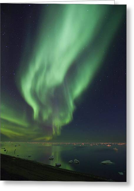 Curtains Of Aurora Borealis Greeting Card by Hugh Rose