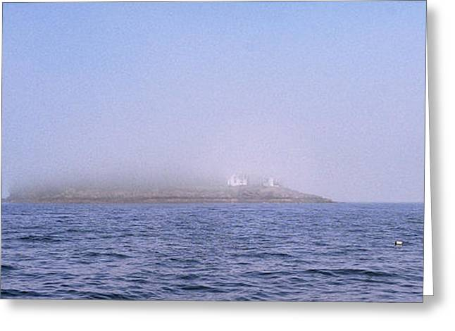 Schooner Greeting Cards - Curtis Island Fog Lifting Greeting Card by Marty Saccone