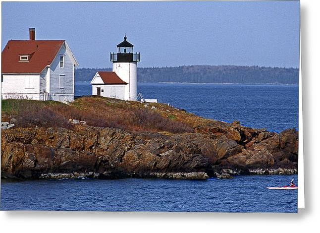Maine Lighthouses Greeting Cards - Curtis Island Lighthouse Greeting Card by Skip Willits