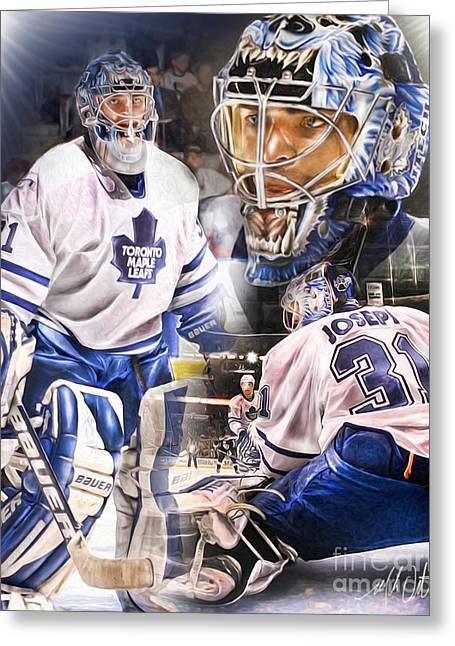 Cujo Greeting Cards - Curtis Joseph Collage Greeting Card by Mike Oulton