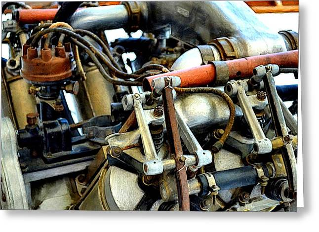 Plane Engine Greeting Cards - Curtiss OX-5 Airplane Engine Greeting Card by Michelle Calkins