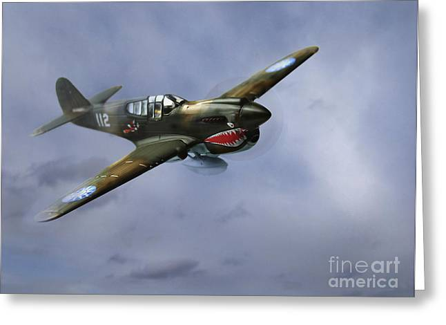Warhawk Greeting Cards - Curtiss P-40 Warhawk Greeting Card by Diane Diederich