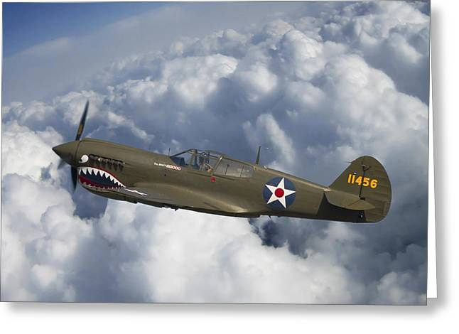 Air Shows Greeting Cards - Curtiss P-40 Warhawk Flying Tigers Greeting Card by Adam Romanowicz