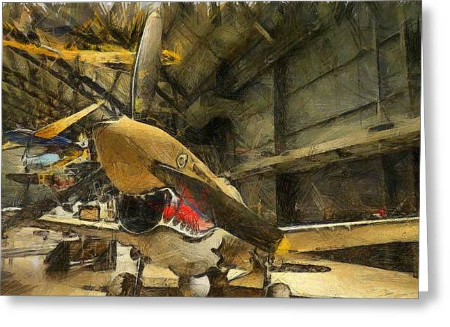 Curtiss Greeting Cards - Curtiss P40 Warhawk Greeting Card by Dan Sproul