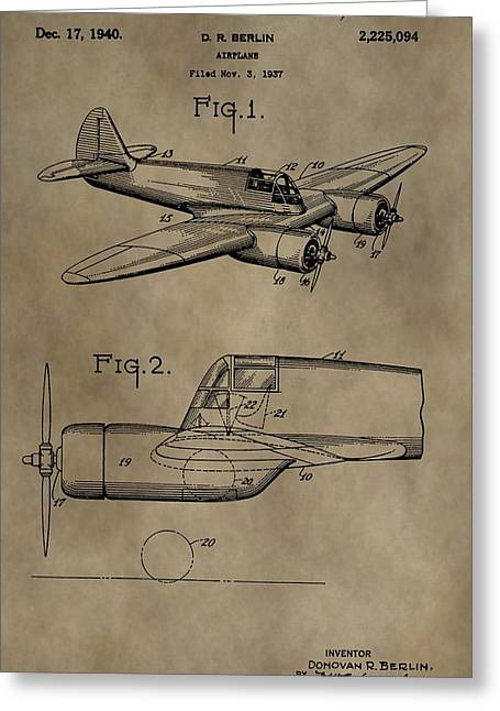 Curtiss Greeting Cards - Curtiss-Wright Airplane Patent Greeting Card by Dan Sproul