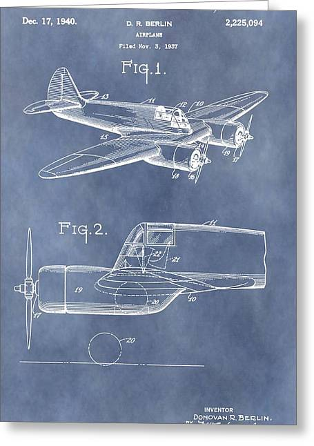 Curtiss Greeting Cards - Curtiss-Wright CW-25 Patent Greeting Card by Dan Sproul