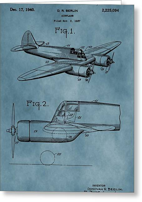 World War 2 Drawings Greeting Cards - Curtiss-Wright Patent Blue Greeting Card by Dan Sproul