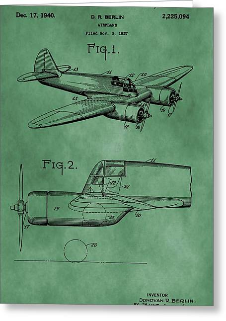 Curtiss Greeting Cards - Curtiss-Wright Patent Green Greeting Card by Dan Sproul