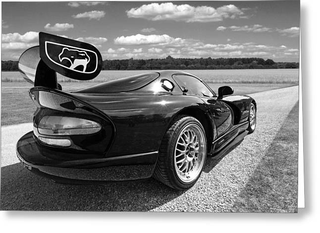 Spoiler Greeting Cards - Curvalicious Viper in Black and White Greeting Card by Gill Billington