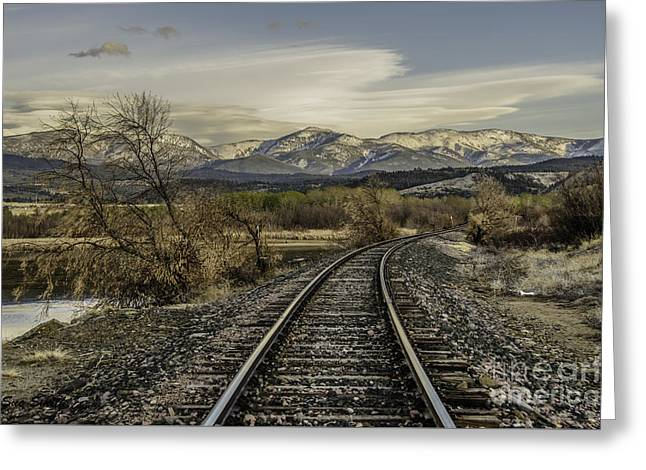 Curve In The Tracks Greeting Card by Sue Smith