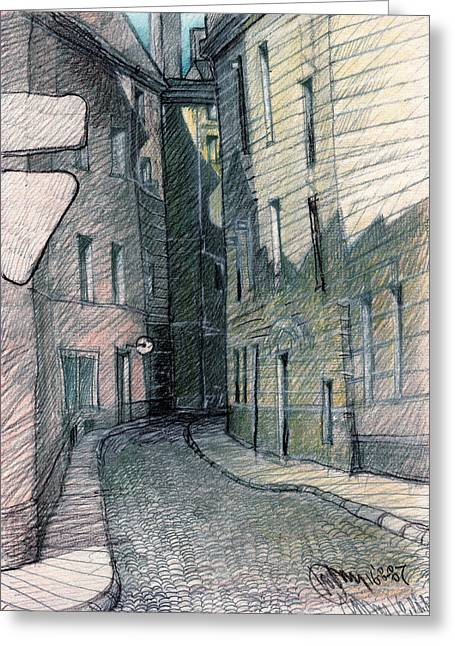Tallinn Drawings Greeting Cards - Curve of Old City Greeting Card by Serge Yudin