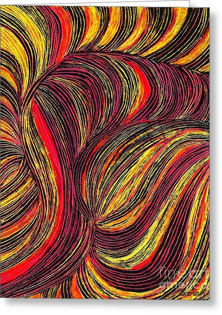 Yellow Line Drawings Greeting Cards - Curved Lines 3 Greeting Card by Sarah Loft