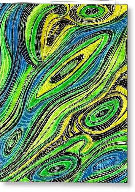 Yellow Line Drawings Greeting Cards - Curved Lines 5 Greeting Card by Sarah Loft