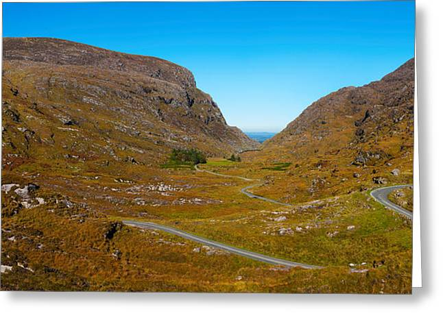 Gaps Greeting Cards - Curved Road On A Hill, Gap Of Dunlop Greeting Card by Panoramic Images
