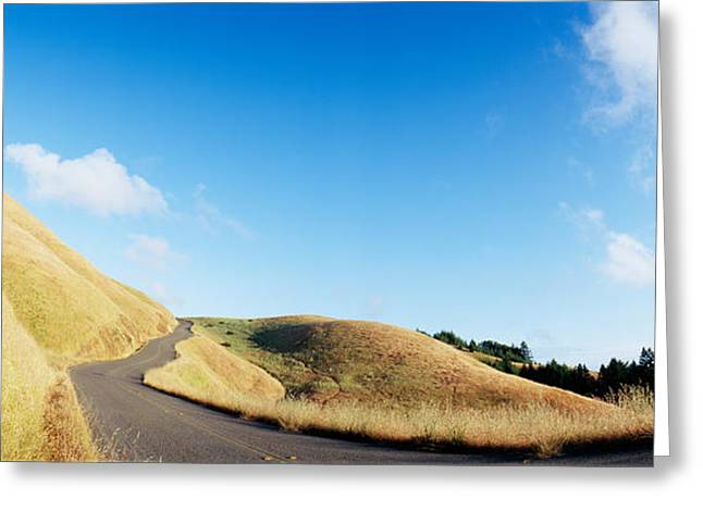 Marin County Greeting Cards - Curved Road On The Mountain, Marin Greeting Card by Panoramic Images