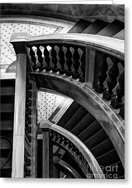 Wooden Stairs Greeting Cards - Curved Stories Greeting Card by Margie Hurwich
