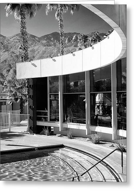 Pool Deck Greeting Cards - CURVES AHEAD BW Palm Springs Greeting Card by William Dey