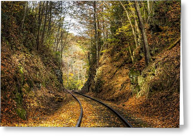 Old Country Roads Greeting Cards - Curves Ahead Greeting Card by Debra and Dave Vanderlaan