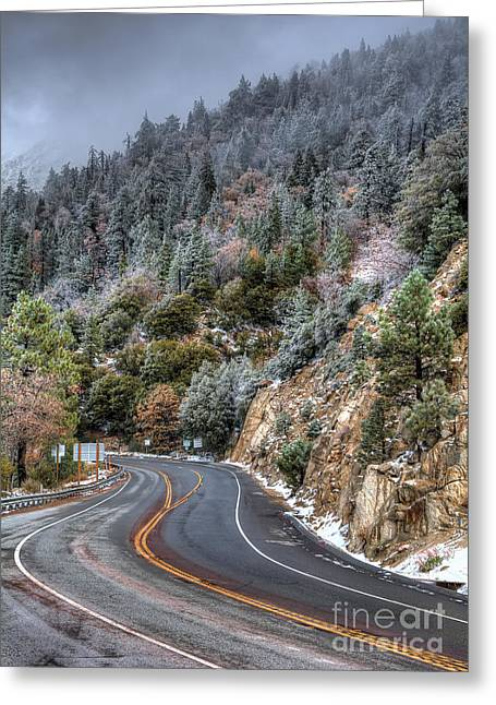 Mountain Road Greeting Cards - Curves Ahead Greeting Card by Eddie Yerkish