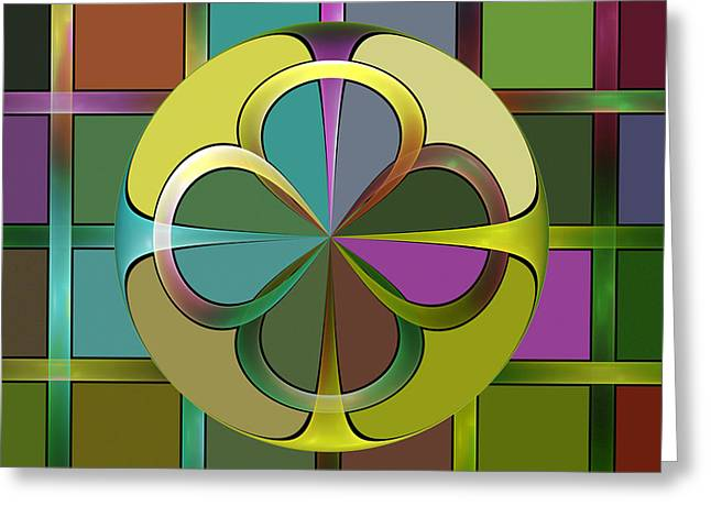 Geometric Design Greeting Cards - Curves and Squares Greeting Card by Sandy Keeton