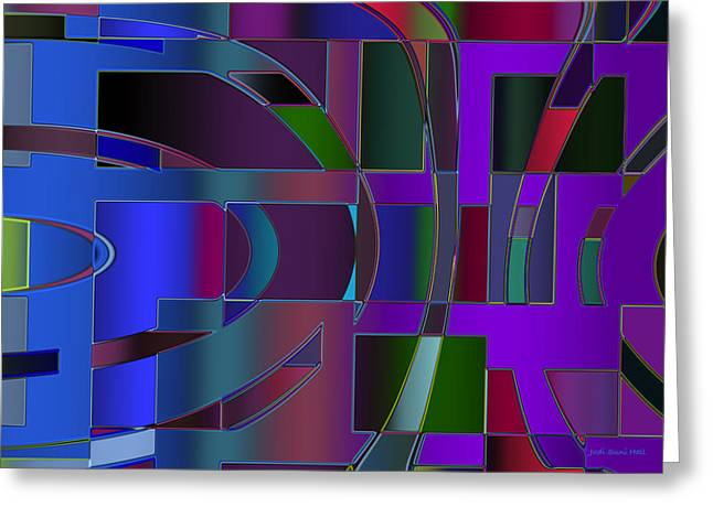 Recently Sold -  - Generative Abstract Greeting Cards - Curves and Trapezoids 2 Greeting Card by Judi Suni Hall