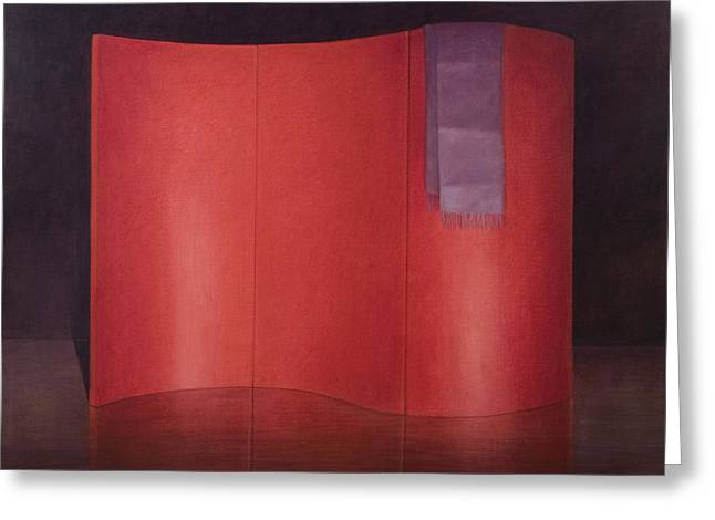 Division Greeting Cards - Curving Red Lacquer Screen Greeting Card by Lincoln Seligman