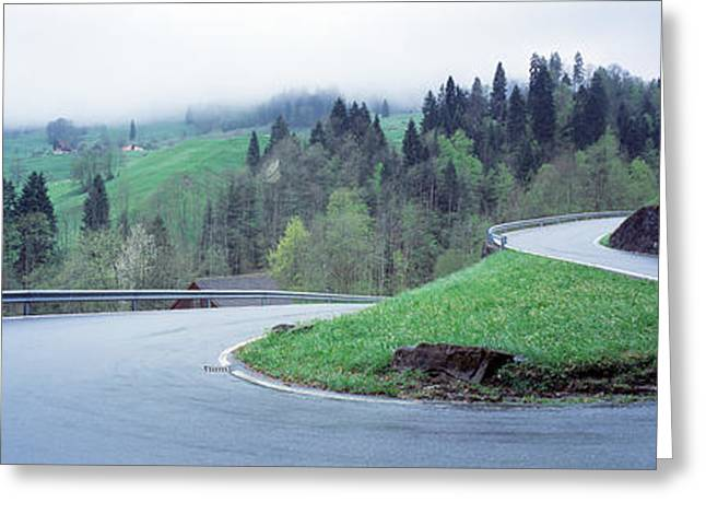 Mountain Road Greeting Cards - Curving Road Switzerland Greeting Card by Panoramic Images