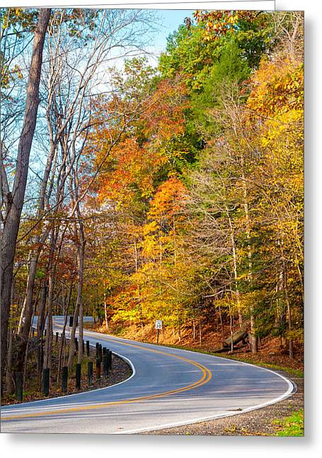 Bedford Hills Greeting Cards - Curvy autumn road Greeting Card by Kenneth Sponsler